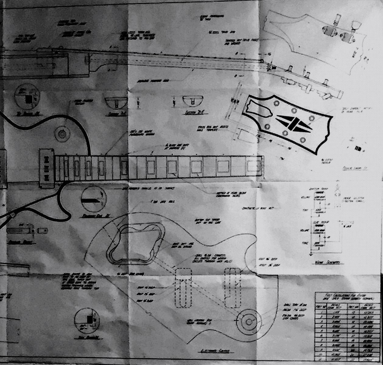 Drawing of guitar parts