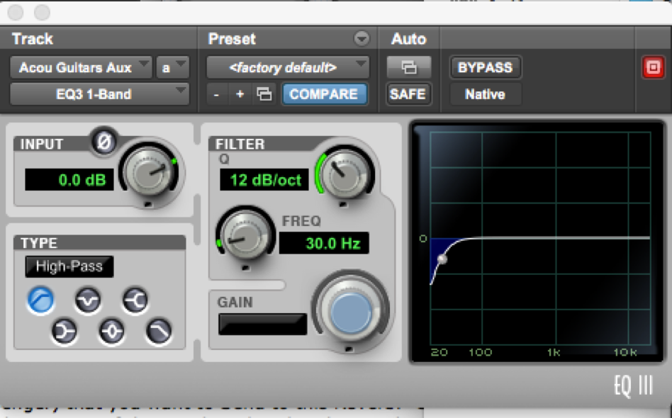 Mixing Example: filter ad 30 HZ with a 12 db curve per octave