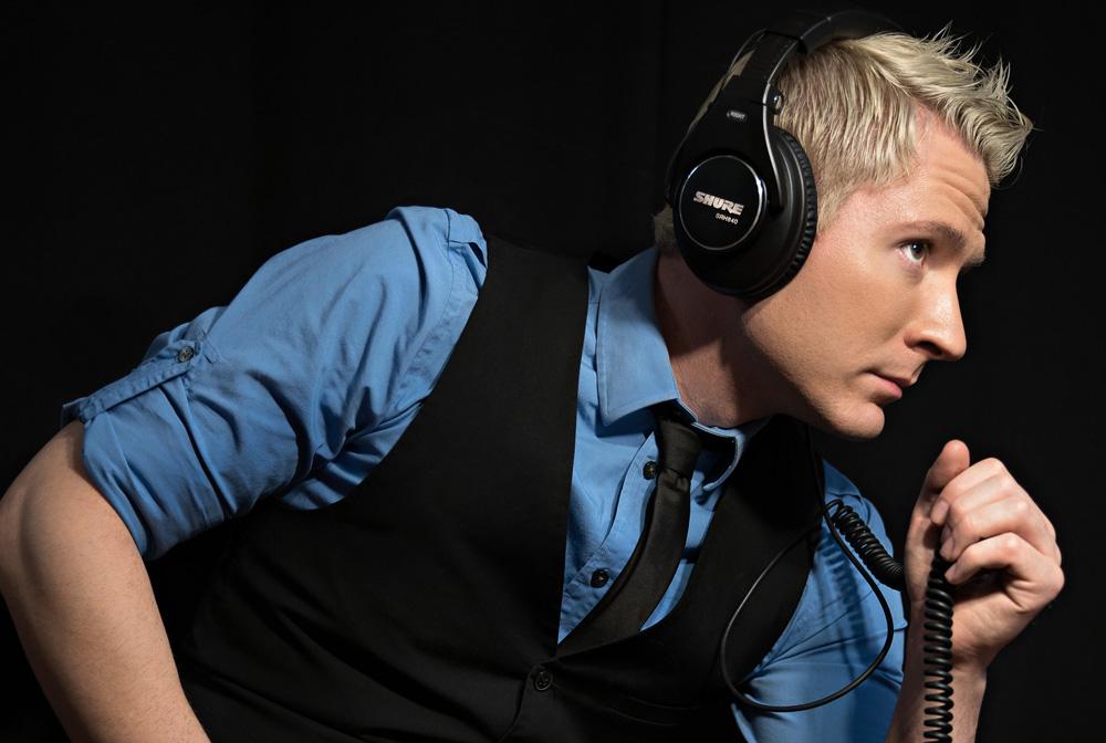 Adam Young Wearing his trusty SRH840 Headphones