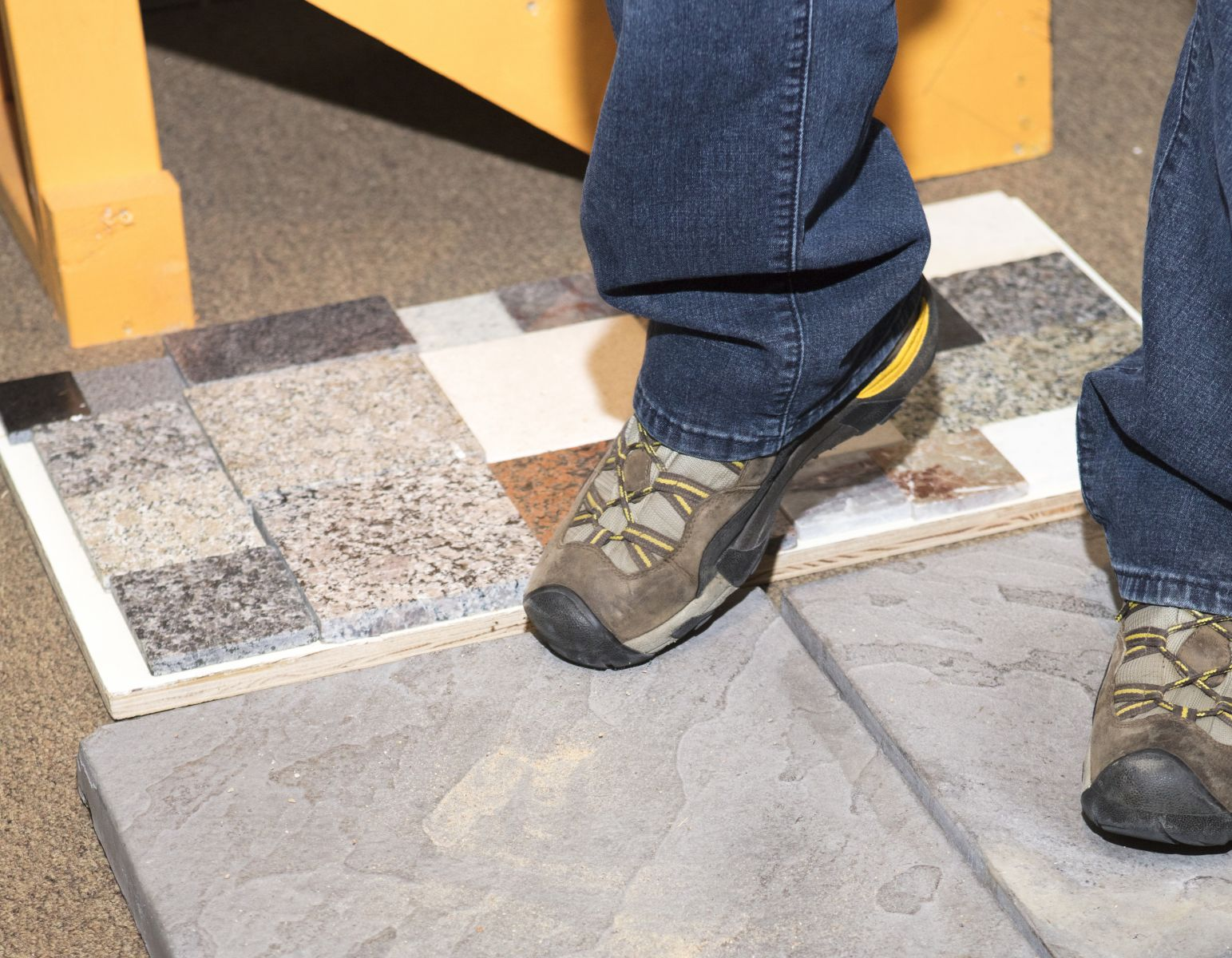 Shoes on tile recording foley