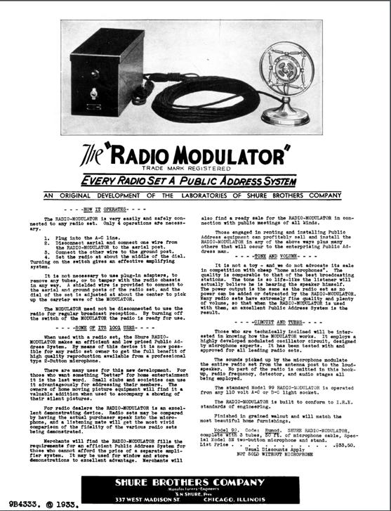 Advertisement for Shure Model 99 Radio Modulator