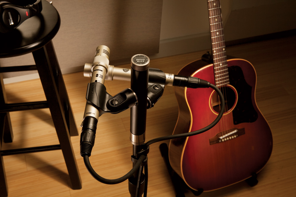 Microphone in Studio in XY Stereo Pair