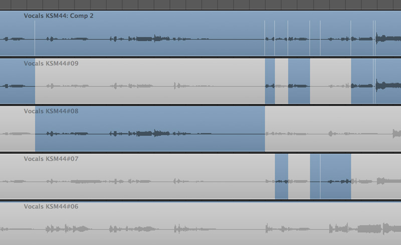 Tracking vocal takes