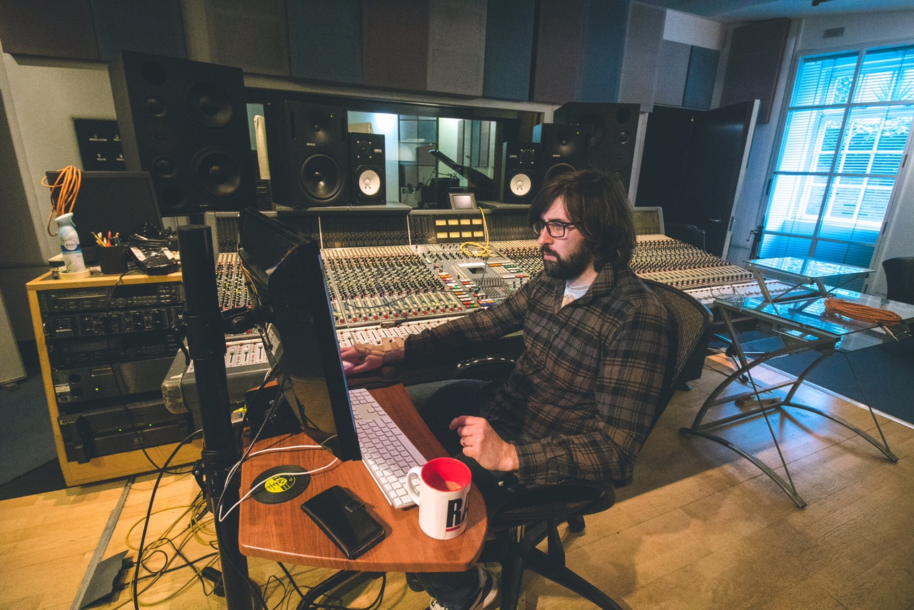 Robbie Nelson at Mixing Board