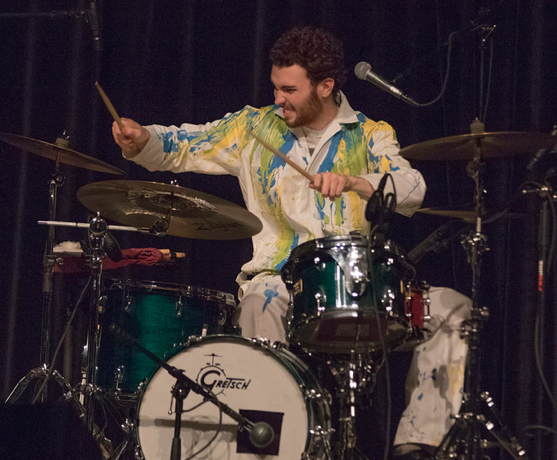 Michael Dause of The Accidentals playing drums