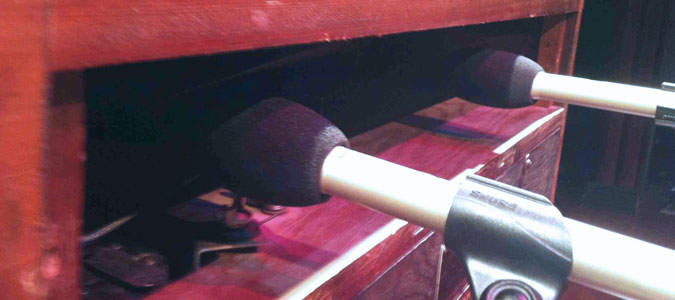 SM81 mics positioned within an inch of the horns – note use of windscreens. Photo: Frank Gilbert