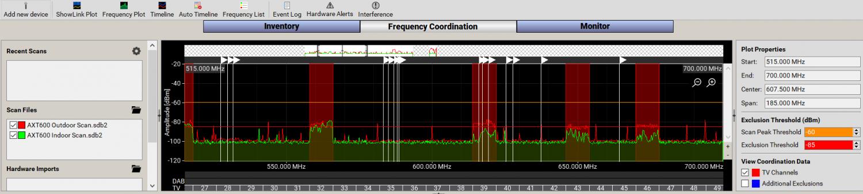 WWB Frequency Coordination tab